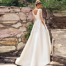 Solid Satin A-line Wedding Dresses Lace Appliques Beading with Pleat Belt Sweep  image 2