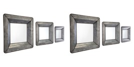 SET OF SIX NEW ANTIQUED FINISH INDUSTRIAL RIVET STYLE WALL VANITY MIRRORS - $620.00