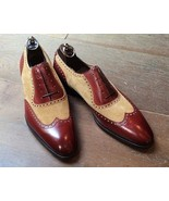 Handmade Men two tone leather formal shoes, Men beige and brown dress shoes - $149.99 - $159.99