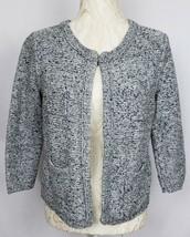 Ann Taylor Loft Womens Size Medium Gray Black Knit Open Front Cardigan S... - $28.59