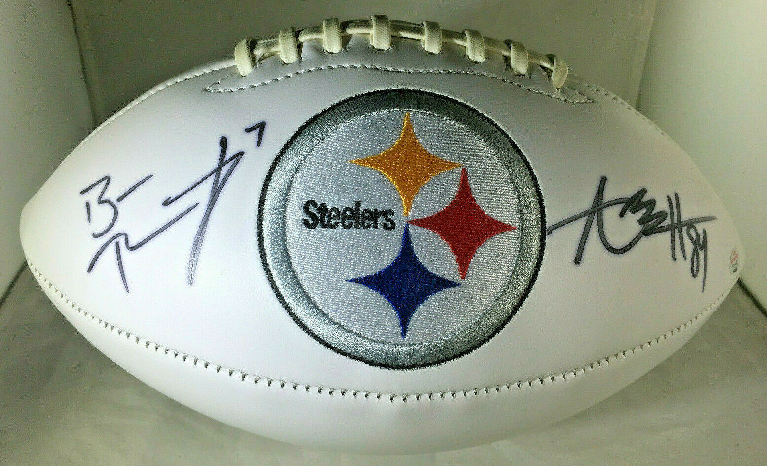 ROETHLISBERGER & BROWN / AUTOGRAPHED PITTSBURGH STEELERS LOGO WHITE FOOTBALL COA