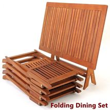 Garden Hardwood Dining Table Chairs Set Folding Outdoor Easy Storage Furniture image 3