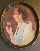 Vintage Drink Coca Cola Flapper Girl Oval Tray 1973 - $14.85