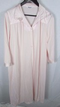 Vanity Fair nylon Long Robe or button down Night Gown Large Vintage pink... - $12.86