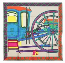 Hermes Carre 90 Scarf Stole BALADE EN BERLINE Carriage Silk Auth New Unu... - $522.27