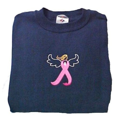 Breast Cancer Sweatshirt 5XL Awareness Embroidered Pink Ribbon Angel Navy Blue