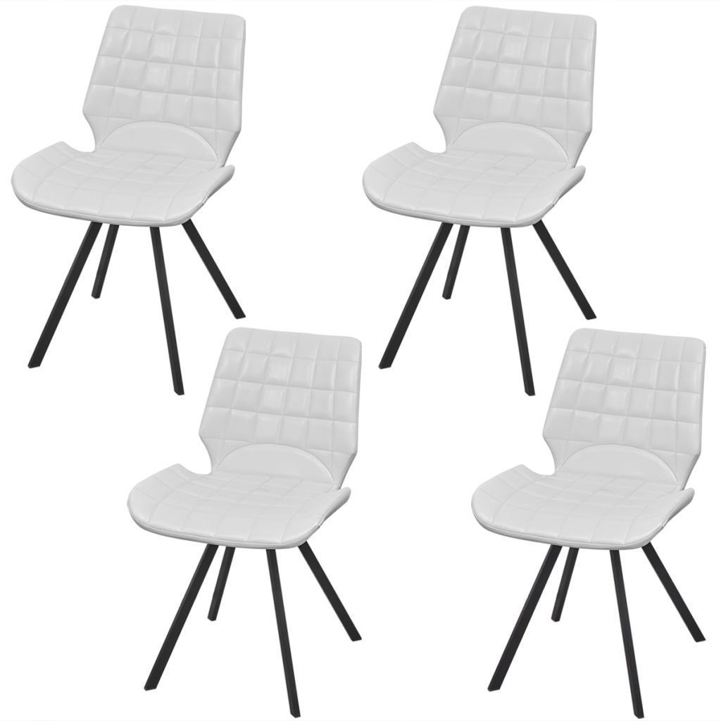 vidaXL Set of 4 Dining Office Living Room Kitchen Chair Artificial Leather White