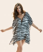 Vi X Swimwear Anita Zebra Striped Deep V Neck Caftan Swimsuit Coverup S Nwt $178 - $75.00