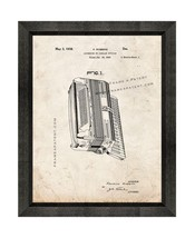 Accordion Patent Print Old Look with Beveled Wood Frame - $24.95+