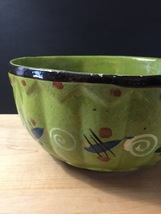 "Vintage 50s Tlaquepaque Mexican Pottery 9 1/2"" Salad Bowl"