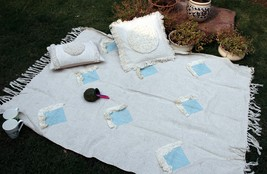 Decorative Sofa Throw, Beautiful Cotton Handmade Throw Blanket, Boho Chi... - €53,47 EUR
