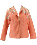 Colleen Lopez Embroidered Faux Leather Jacket TERRA XS NEW 638-980 - $87.10