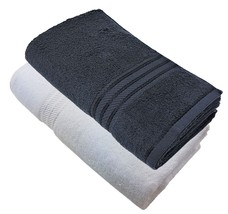 2 X Luxury Striped Hotel Quality Egyptian Cotton Black White Hand Towel 600GSM - $21.57