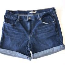 Levis Womens Stretchy Jean Denim Classic Shorts Size 32 Dark Wash - $19.30