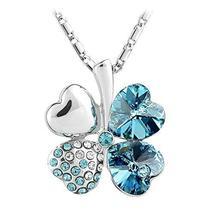 SHIP BY USPS: Le Premium Four Leaf Clover Pendant Necklace Heart Shaped ... - $39.95