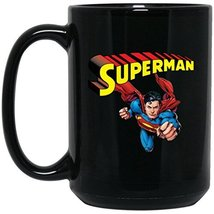 Superman Coffee Mug | Superman Man Of Steel Mug | 15 oz Black Ceramic Superman M - $13.99