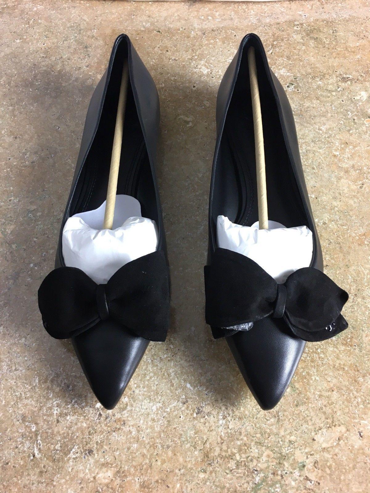 Tory Burch Rosalind Ballet Flat Black Leather Size 10