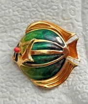 "Liz Claiborne Fish Enamel Blue Green Gold Tone 1.75"" Pin Brooch signed - $14.84"