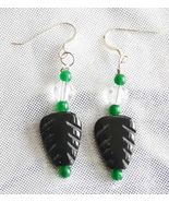 Judy Strobel Carved Black Onyx Leaves with Quartz Crystal & Jade Earrings - $19.75