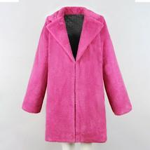 Women's Trendy Pink Thicken Faux Fur Lapel Parka Collar Jacket Winter Coat image 6