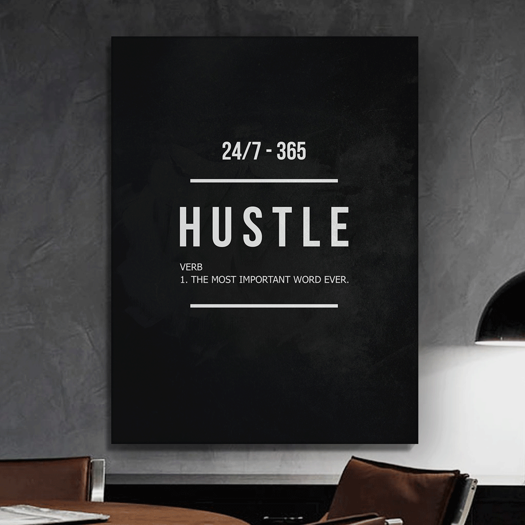 "Hustle Entrepreneur Canvas Print Office Wall Decor Modern Art 48"" x 36"" Inches image 3"