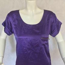 DVF Diane Von Furstenberg Purple top blouse 100% silk size 0 Career work image 3