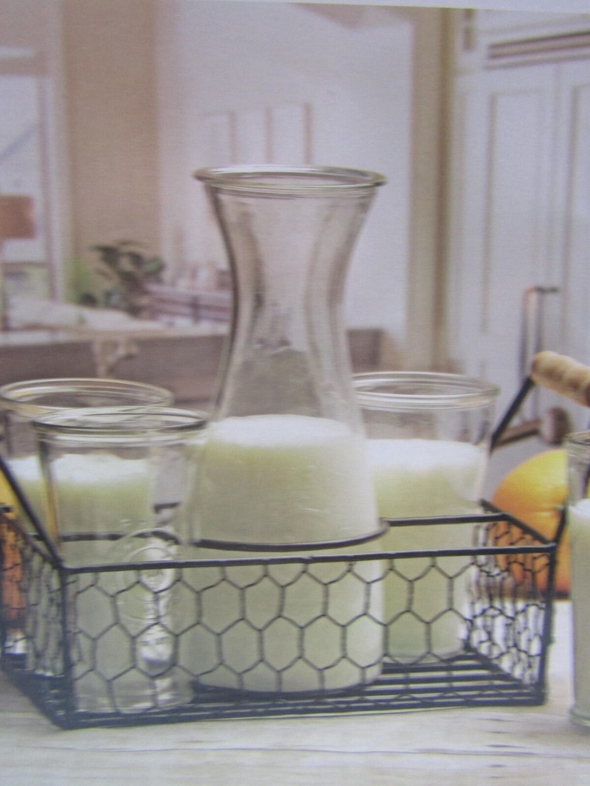 Circleware Ranch Collection Brunch Set Embossed Rooster Carafe Glasses Caddy