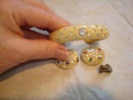 Vtg Signed Weiss Earrings and Cuff Bracelet AB & White Rhinestones Cream... - $74.24