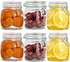 NEW 25Oz Glass Jars 6 Pack, Glass Canisters With Leak Proof Hinged Lids ... - $30.27
