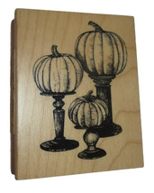 Pumpkins Pedestal Rubber Stamp New Fall Halloween Inkadinkado Wood Mount... - $8.90
