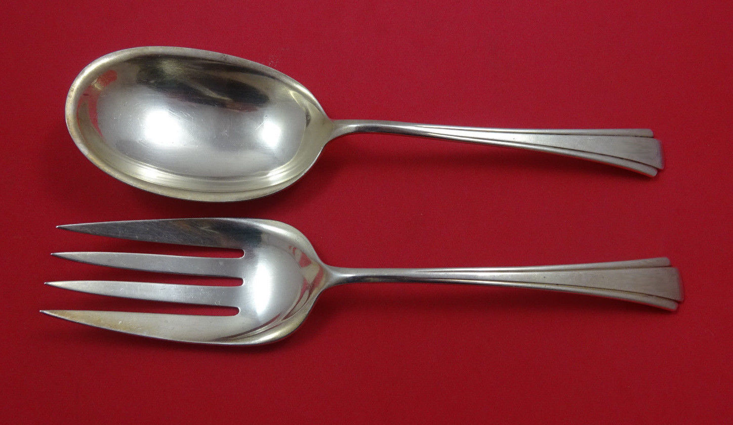 Primary image for Debutante by Richard Dimes Sterling Silver Salad Serving Set 2pc 8 7/8""