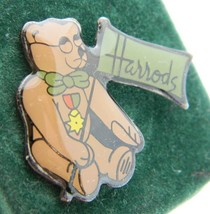 Vintage Harrods New Old Stock Enamel Teddy Bear Lapel Pin Tie Tack - $19.80