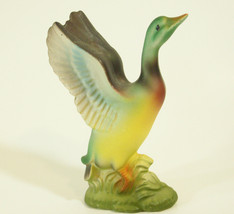 Duck Wings Up Bisque Porcelain Figurine Figure MC Bird Fowl Mallard Vintage - $12.82