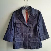 Ann Taylor Denim Peplum Jacket Dark Blue Wash Stitch Detail Size 6 Pre-o... - $55.40