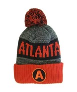 Atlanta A Patch Ribbed Cuff Knit Winter Hat Pom Beanie (Red/Black Patch) - $11.95