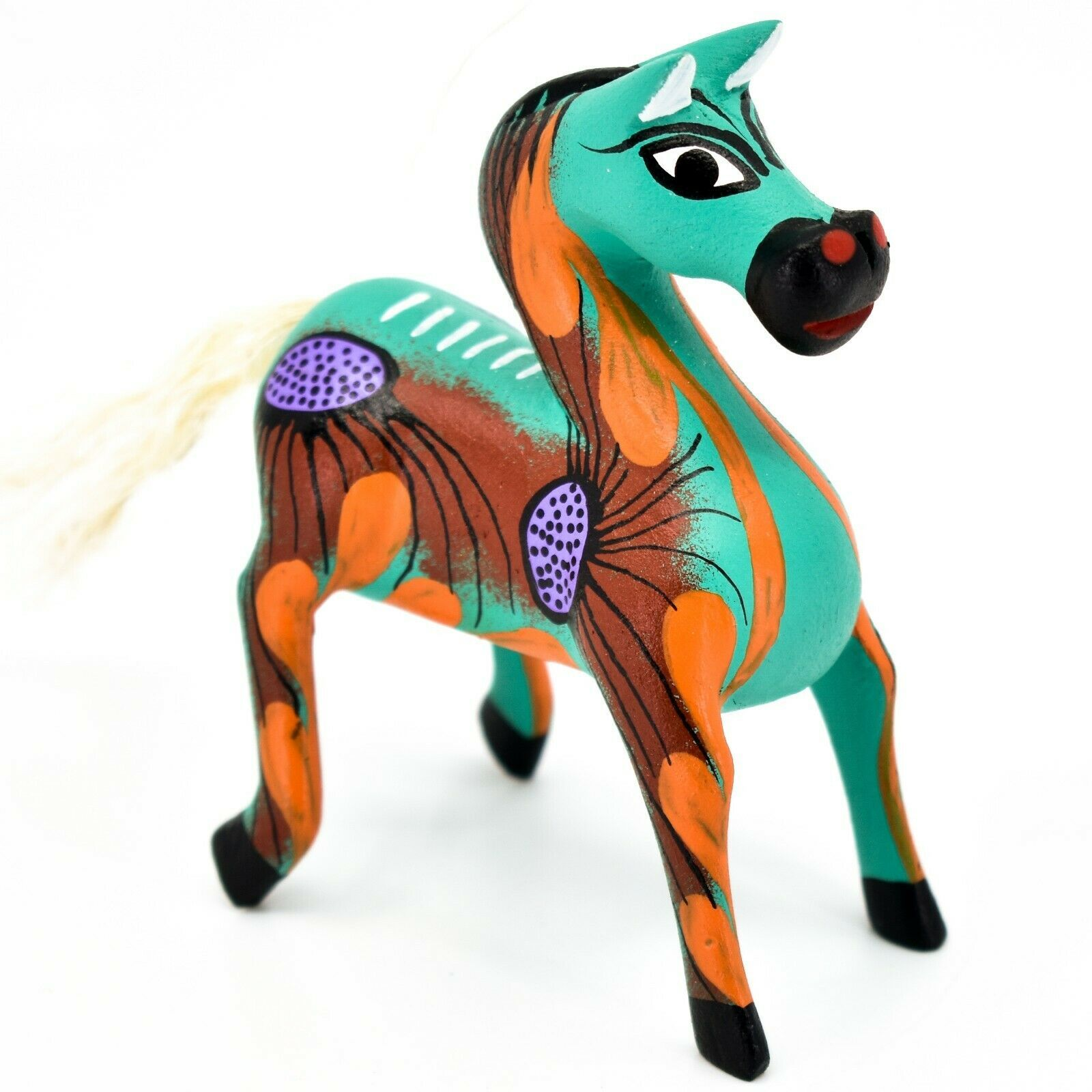 "Handmade Alebrijes Oaxacan Wood Carved Painted Folk Art Horse 3.5"" Figurine"