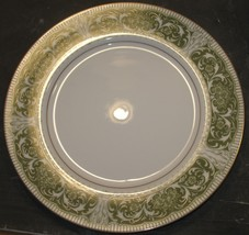 "Vtg Mikasa Fine China Coronet Green/White/Gold 10.25"" Dinner Plate Repla... - $8.91"