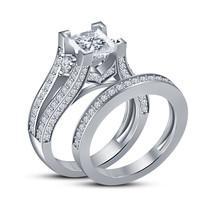 14k White Gold Finish 925 Sterling Solid Silver Womens Diamond Bridal Ri... - $87.99