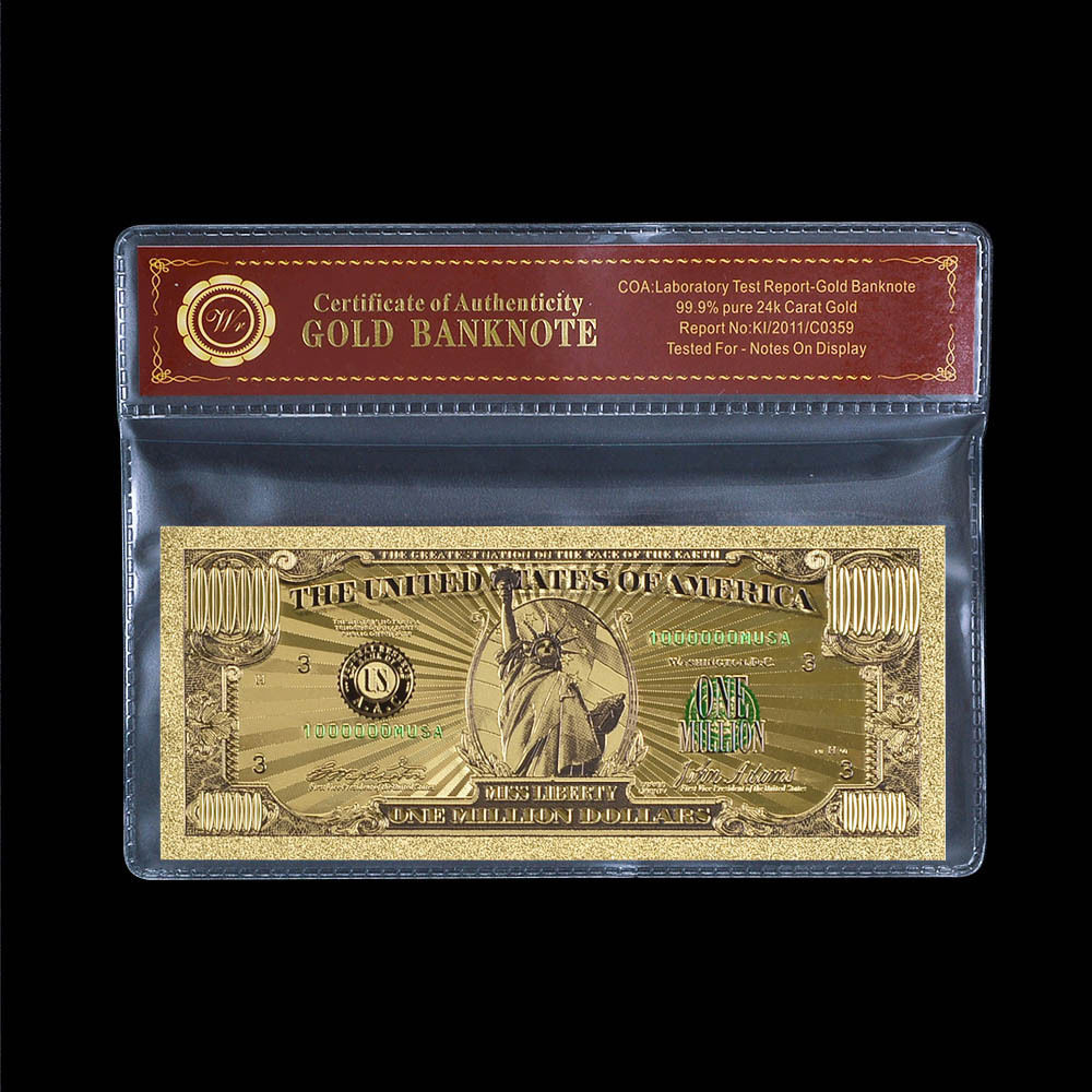 WR US $1 Million Dollar Fine Gold Foil Banknote In Sleeve Collectible Gifts
