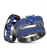 Wedding Band 925 Silver His & Her Blue Sapphire Trio Ring Set Black Gold... - $167.98