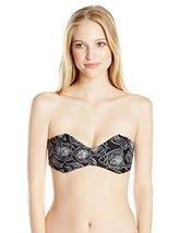 RVCA Women's Bold Rose Bandeau Bikini Top, Black, Small