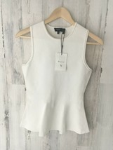 NWT $255 THEORY Classic Peplum Knit Sleeveless Top Shell White Petite P - $62.81