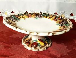 """VINTAGE LEFTON Della Robbia 8-1/2"""" Pedestal Plate Hand Painted Multicolor 1950's"""