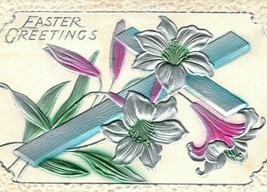 c 1915 Religious Blue Cross Silver Metallic Lilies Easter Postcard Embossed - $8.99