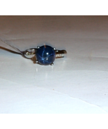 Blue Star Sapphire Round Solitaire & White Topaz Ring, Silver, Size 7, 6... - $98.99