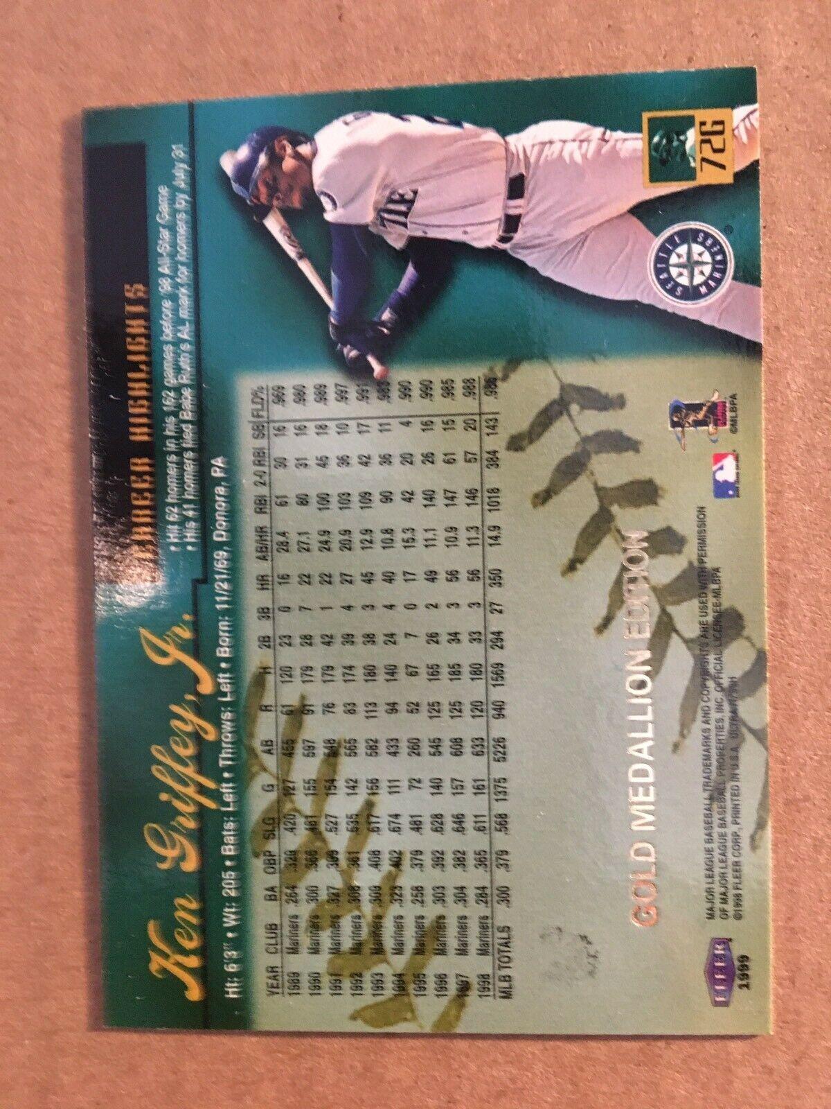 1999 Fleer Ultra Ken Griffey JR #726 Gold Medallion Baseball Card Mariners NM/M