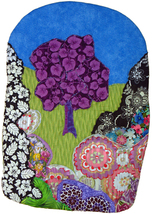 Garden of the Purple Tree: Quilted Art wall hanging - $350.00