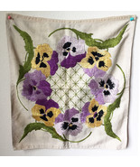Vintage Floral Hand Embroidered Fabric Panel 20 x 18 Inch • Hand Sewn Cr... - $17.77