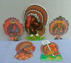 Vintage Lot 5 Beistle Hallmark Turkey Die Cut Thanksgiving Decorations - $11.75