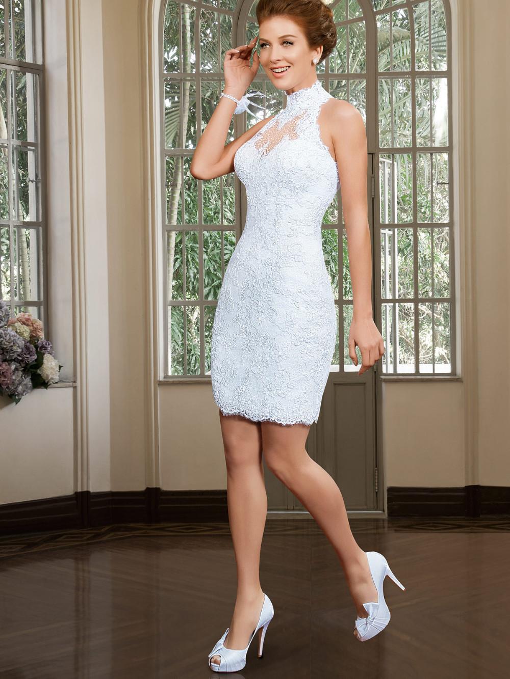 Custom Made Elegant A Line High Neck Wedding Dress with Detachable Skirt